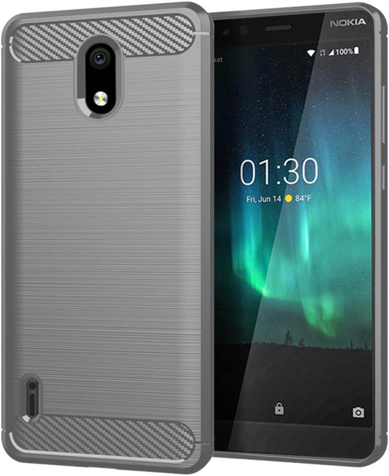 Nokia 3.1A (AT&T) case,Nokia 3.1C (Cricket Wireless) case,MAIKEZI Soft TPU Brushed Anti-Fingerprint Full-Body Protective Phone Case Cover for Nokia 3.1A/3.1C (Gray Brushed TPU)