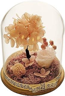 ガラスドームの永遠のバラ保存されたバラのガラスの花バレンタインデーの誕生日母の日記念日クリエイティブギフト保存された新鮮な花 (オレンジ色)