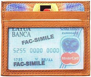 Porta-carte di credito Marrone chiaro da uomo in pelle - 10x8 cm - Made in Italy