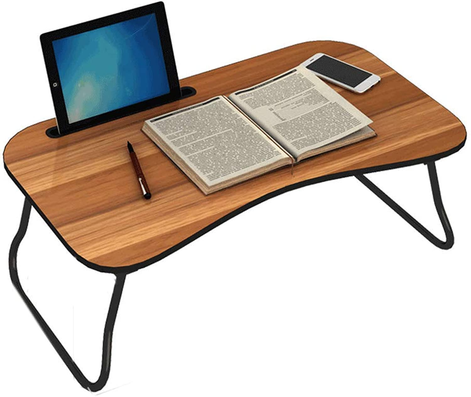 TY BEI Folding Table - Lazy Bed Desk Laptop Table Student Learning Small Table Foldable Simple Household 70x40x24.5cm