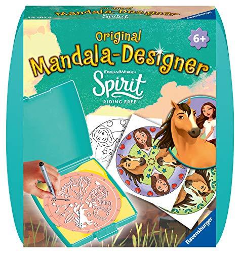 Ravensburger Mandala Designer Mini Spirit 29765, Mit Lucky und ihrem wilden Mustang Spirit zeichnen lernen für Kinder ab 6 Jahren, Kreatives Zeichen-Set mit Mandala-Schablone für farbenfrohe Mandalas
