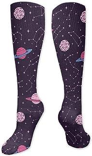 Inner-shop, Constelaciones y planetas Calcetines de compresión cómodos y suaves de moda Calcetines de tripulación que absorben la humedad avanzados para la familia de trabajo Vestido deportivo , calcetines