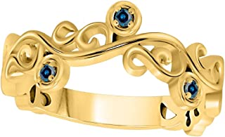 AoneJewelry 10K Solid Gold Blue Diamond Women's Wedding Band