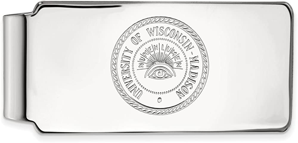 Solid 10k White Gold Official Wisconsin University free Busin Ranking TOP13 of Slim