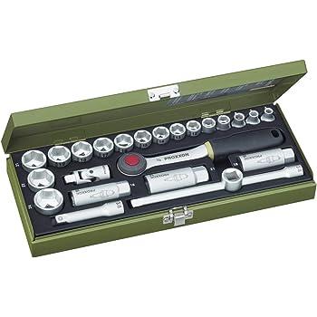 """PROXXON Steckschlüsselsatz, Kompaktsatz mit 3/8""""-Umschaltratsche, 24-teiliges Werkzeug-Set mit Stahlkasten, 23110"""