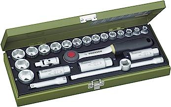 """PROXXON Zestaw kluczy nasadowych, kompaktowy zestaw z grzechotką 3/8"""", 24-częściowy zestaw narzędzi ze stalową skrzynką, 2..."""