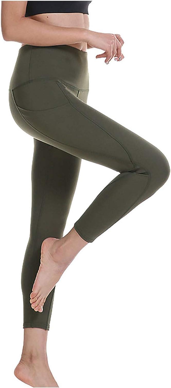 FRSH MNT Womens Leggings High Waisted Yoga Pants Hip Lifting with Pocket Leggings Capri Compression Tights