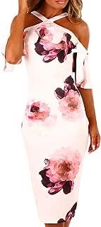 BODOAO Womens Dresses Summer Off The Shoulder Ruffle Floral Print Bodycon Midi Dress