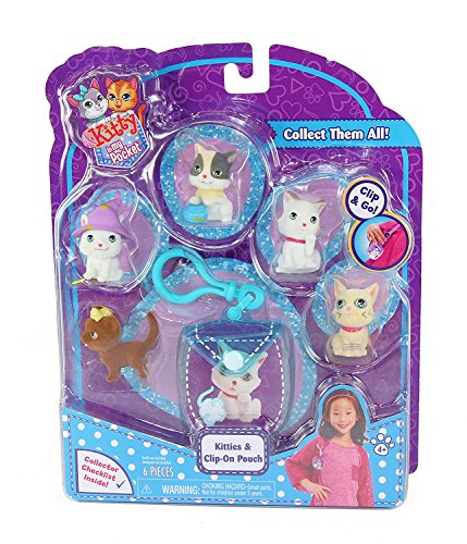 Kitty In My Pocket Kitties & Blue Clip On Pouch - 5 Kitties Included