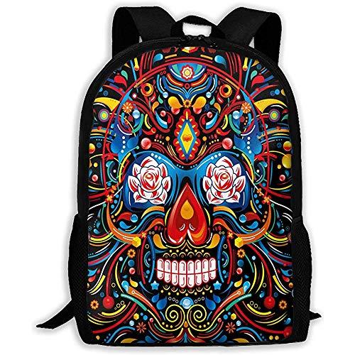 Rugzak Mexicaanse schedel Art Rits School Bookbag Dagtas Reizen Rugzak Gym Tas voor Man Vrouwen