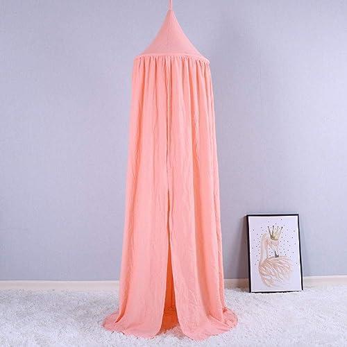 Décor à la Maison Tente des Enfants Moustiquaire Lavé Coton Jeu de Puzzle Chambre des Enfants Ronde Apex Pendaison Couleur Unie,rose