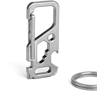 TISUR Titanium Carabiner Clip Multifunctional Carabiner Key Chain with Bottle Opener and Wrenches