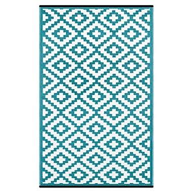 Green Decore Lightweight Outdoor Reversible Plastic Nirvana Rug (6 X 9, Teal Blue/White)