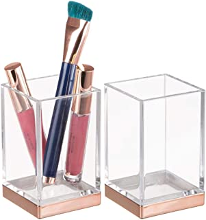mDesign Modern Square Tumbler Cup for Bathroom Vanity Countertops - for Mouthwash/Mouth Rinse, Storing and Organizing Makeup Brushes, Eye Liners, Accessories - Slim Design, 2 Pack - Clear/Rose Gold