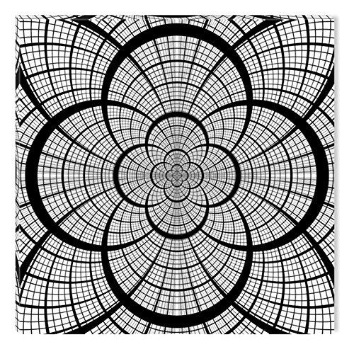 Startonight Impression sur Toile Noir et Blanc Géométrique, Art Encadré Imprimée Tableau Motif Moderne Décoration Tendu sur Chassis Prêt à Accrocher 80 x 80 cm