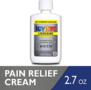 Icy Hot Cream with Maximum Strength Lidocaine, 2.7 Ounce, Temporarily Relives & Numbs Minor Pain Associated with Arthritis, Simple Backache, Muscle Strains, Sprains, Bruises, and Cramps