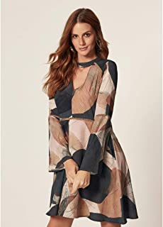 Vestido Renda Estampa Geométrico Abstrato