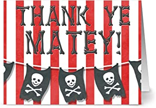 Happy Birthday Cards – 24 Pack – Ahoy Matey Thank You – Unique Design – RED ENVELOPES INCLUDED –Greeting Cards – Glossy Cover Blank Inside – By Note Card Café