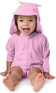 One Piece Baby Swimsuit - UPF 50+ Sun Protective Long Sleeve Infant Sunsuit with Hat
