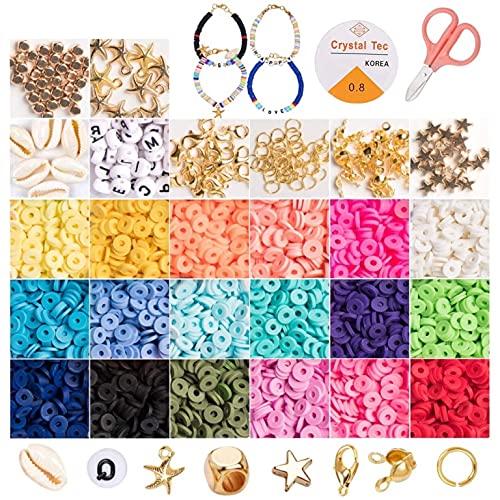Juguete de Cuentas 6mm Cuentas de Arcilla Polimerica Redondas Planas,Coloridas Abalorios Hacer Pulseras para DIY Manualidad Fabricación de Joyas para Niños Adultas (color-A)