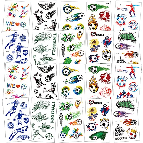 20 Blätter Fußball Tattoo Aufkleber Set,Tattoo Kinder,Fußball Tattoo Sticker,Temporäre Tattoos für Jungen,Tattoo Fußball ,Tattoo Kindergeburtstag Mitgebsel Fußball Party