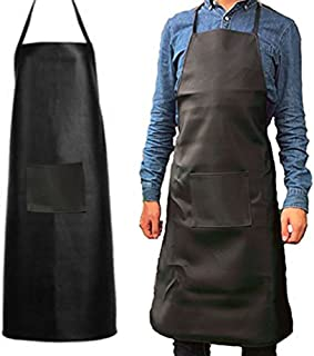 Heavy Duty Waterproof Rubber Vinyl Apron for Men-Best for Staying Dry When Dishwashing, Lab Work, Butcher, Cleaning Fish, Oil and Stain Proof, alkali and acid resistance Leather Apron (Black&1Pack