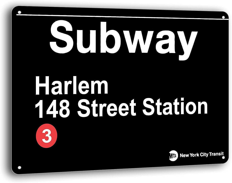 BAYABU Metal Signs 1Tin Sign Retro Cafe Vintage Decorations Subway Harlem- 148 Street Station Man Cave Wall Decor 16 x 12 inches