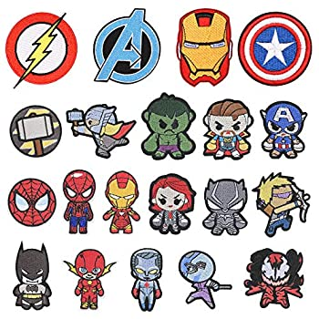 20 Pieces Superhero Patch for Clothes,Assorted Styles Super Hero Embroidered Iron on Patches DIY Sew Applique Repair Patch to All Fabric  20 PCS Superhero Series