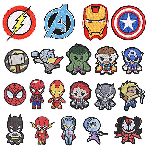20 Pieces Superhero Patch for Clothes,Assorted Styles Super Hero Embroidered Iron on Patches DIY Sew Applique Repair Patch to All Fabric (20 PCS, Superhero Series)