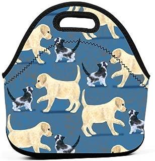 黄色のラブラドールレトリーバーと子猫のランチバッグ断熱サーマルランチトートアウトドア旅行ピクニックキャリーケースランチボックスハンドバッグ付きジッパー