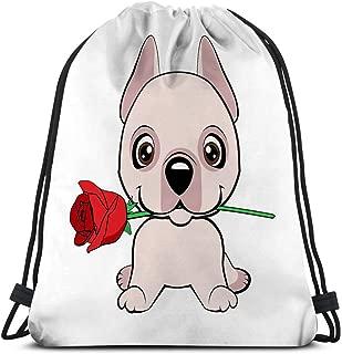 Classic Drawstring Bag Sport Storage Bag for Man Women dogo argentino dog sitting flat cute puppy flower cartoon hand drawn can be used