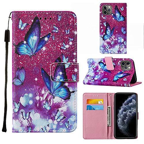 Miagon Lanyard Brieftasche Etui für iPhone 12 Pro Max,Schön Lila Schmetterling Entwurf Pu Leder Magnetverschluss Weich Innere Buchstil Schutzhülle Klapphülle mit Standfunktion