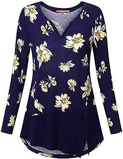 iFOMO Flroal Print Button Long Sleeve V-Neck Plus Size S-5XL Asymmetric Hem Top Shirt for Women