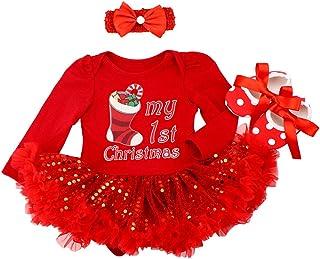 FYMNSI, Bebé Niña Mi Primera Navidad Vestido Árbol de Navidad Calcetines Reno Impreso Princesa Tutú Falda + Diadema + Zapatos Conjunto de Ropa 3pcs Infantil Fiesta Fotografía Disfraz 0-18 Meses