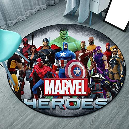 WallDiy Avengers Spiderman Iron Man Adulte Enfants Enfants garçons Filles Jeu Tapis Rond Chambre Salon Tapis antidérapant Tapis d