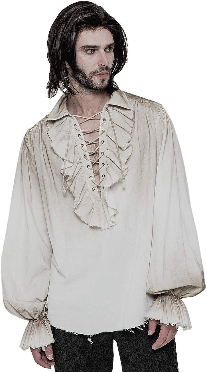 Vampire Shirt Halloween Fancy Dress Party Long Sleeves Mens Black Pirate