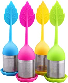 House Again 4-pack Extra Fine Mesh Tea Infuser with Drip Tray - 18/8 Stainless Steel Fine Mesh Tea Cup with BPA-Free Silicone Lid - Perfect Tea Balls Tea Strainers (04 Maple leaf)