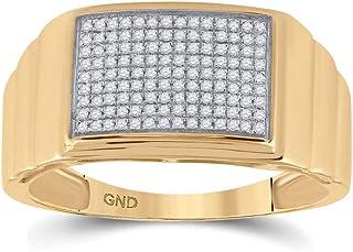 FB جواهر الذهب الأصفر 10kt رجل جولة الماس مضلع مستطيل العنقودية الدائري 1/4 Cttw