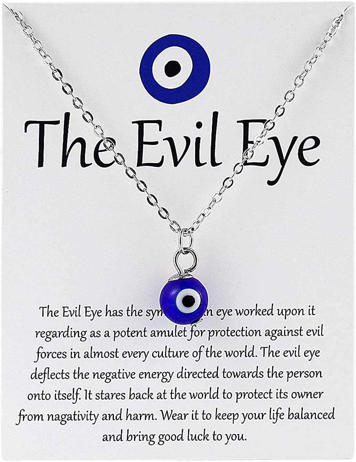 COLORFUL BLING Dainty Turkish Evil Eyes Necklace with Card Third Blue Eye Luck Protection Amulet Pendant Necklace Ojo Turco Kabbalah Jewelry for Women