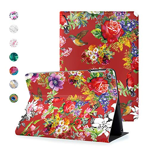 Hoppacase Premium iPad Air Case 9.7 Inch 2014 2013 for Air 1 / Air 2 - Revolutionary Viewing Access, Smart Cover with Auto Wake/Sleep, Full Body Shockproof Protection - Flowerbirds