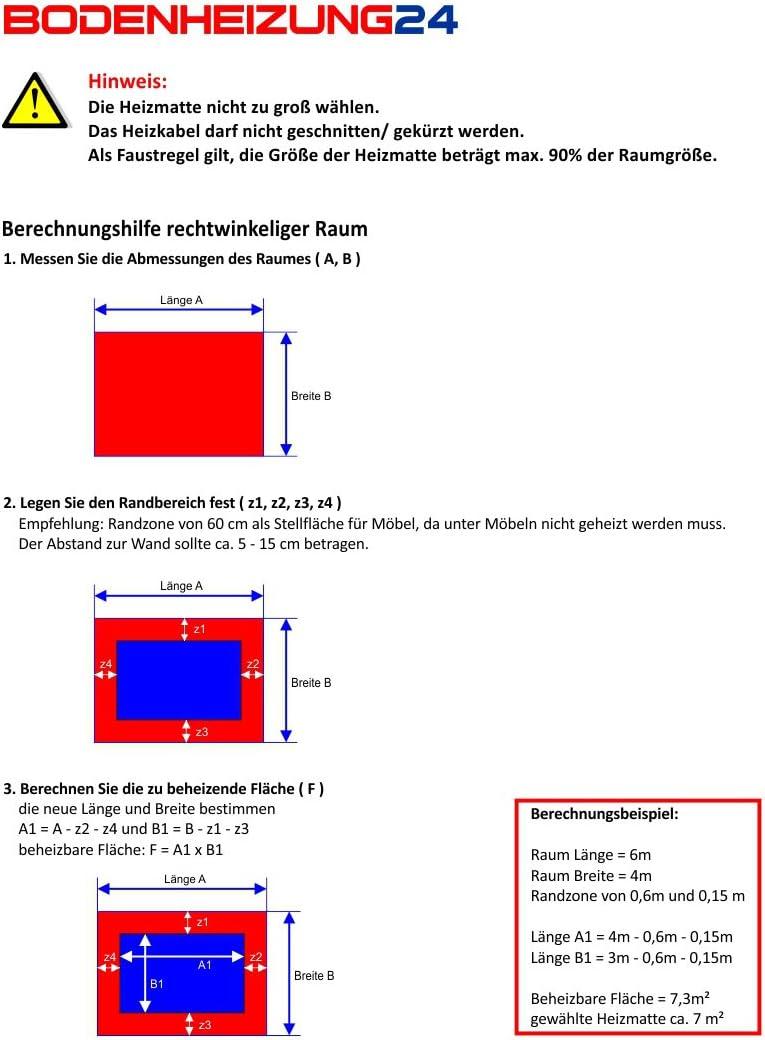 1 m/² - 0,5 m x 2,0 m Elektrische Fu/ßbodenheizung Komplett-Set BZ-150 mit Thermostat MCS 350 Wlan
