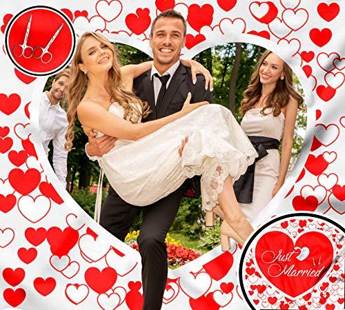 4Tradition Hochzeitsherz zum Ausschneiden, Hochzeitsspiel für das Brautpaar | Gäste, inkl. 2 Nagelscheren, Bedrucktes Bettlaken, Hochzeitslaken für Braut und Bräutigam