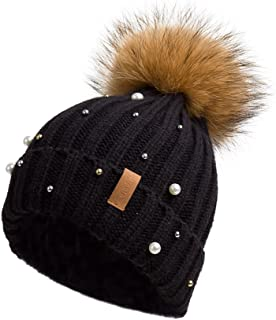 Pilipala Women Knit Winter Turn up Beanie Hat with Pearl and Fur Pompom VC17605