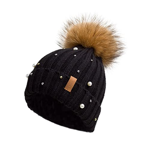 6418a3bb24c Pilipala Women Knit Winter Turn up Beanie Hat by with Pearl and Fur Pompom  VC17605