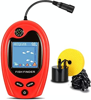 LUCKY Fishing Portable Fish Finder Handheld Fish Finder Boat Kayak Fish Finders Depth Finder Fishing Wired Sonar Sensor Transducer for Shore Ice Fishing LCD Display