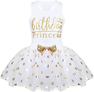 Toddler Little Girls Fancy Sequin Polka Dots Birthday Outfit Racer-Back Shirt with Mesh Tutu Skirt Set