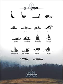 Yoga Poses and Stretching Exercise Poster – YIN Yoga Position Chart Posters Printed on a Thick Glossy Paper Poster Stock. (Yin-Yoga Poses with Forest in Background)