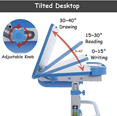 EWGQWB Table for Kids - Writing Tools for Kids Height Adjustable Embedded Pull-Out Drawer, siut Kids Age 3-10 Safe Material f