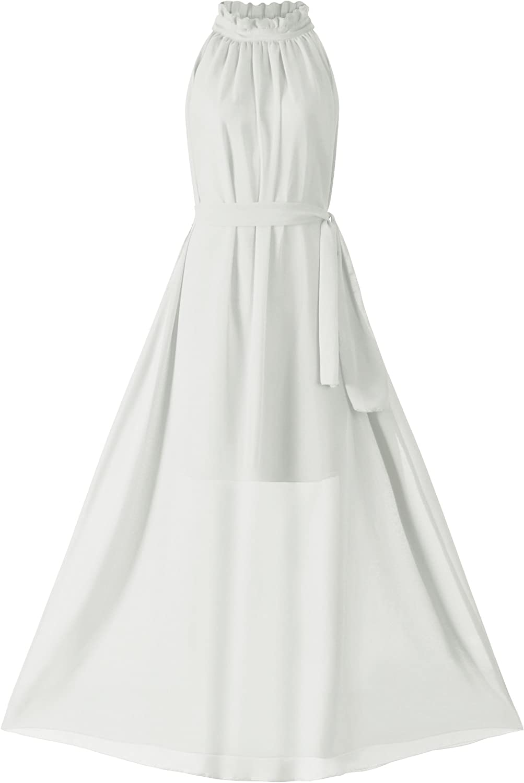 VSVO Women Halter 100% quality warranty! Neck Maxi Dresses Chiffon Import Sleeveless