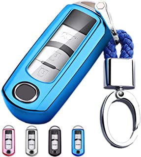 Mofei for Mazda Key Cover Fob Shell Case TPU Full Protector Holder with Key Chain Compatible with Mazda 3 6 CX-5 CX-7 CX-9 MX-5 Speed3 Miata Smart Key Remote Keyless Entry (Blue)